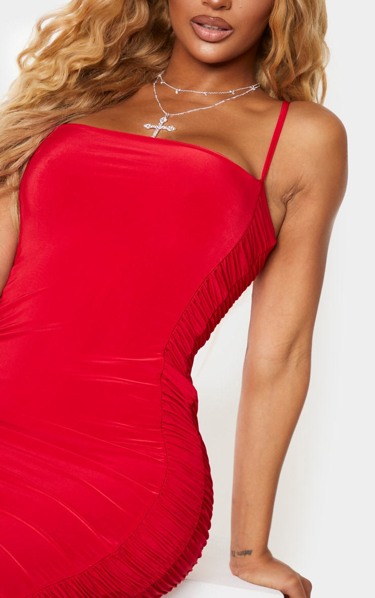 Shape Red Slinky Ruched Bodycon Dress 4