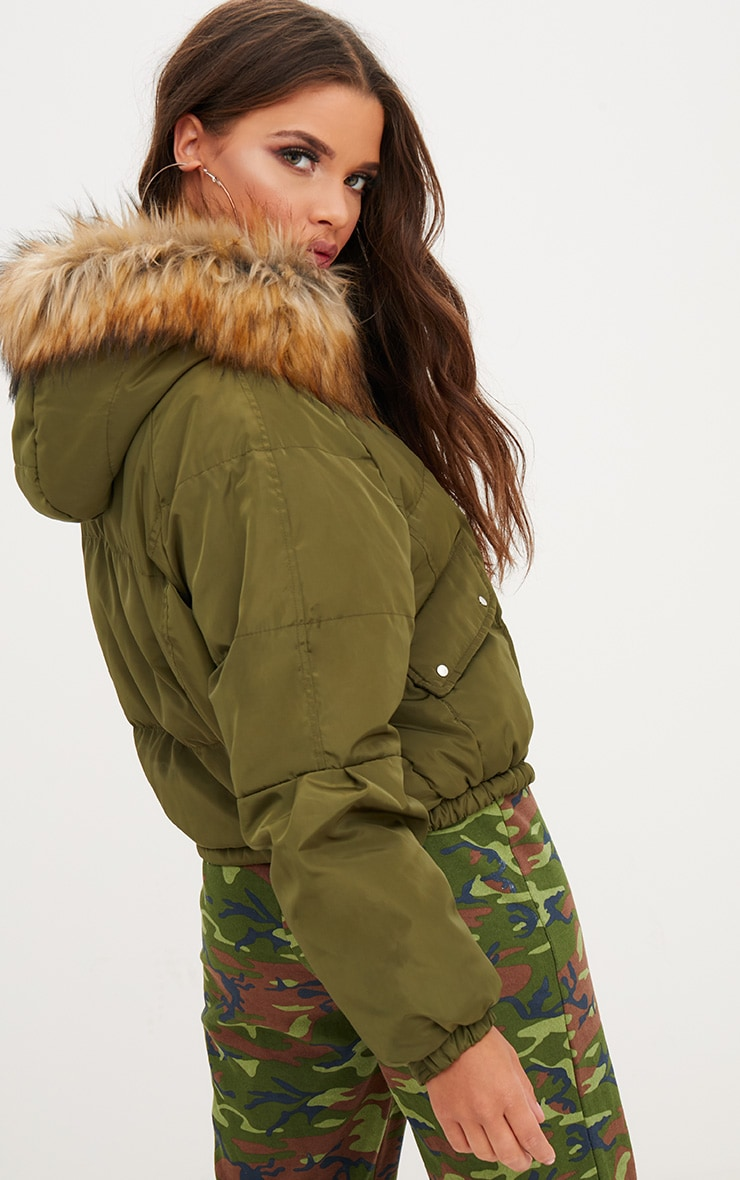Khaki Cropped Puffer Jacket with Faux Fur Hood 2