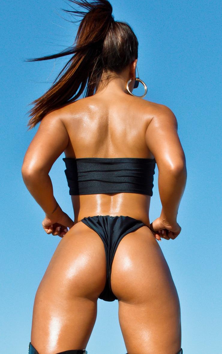 Bas de bikini noir à attaches élastiques 4