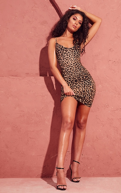 cbec270cb0 Leopard Print Strappy Plunge Bodycon Dress