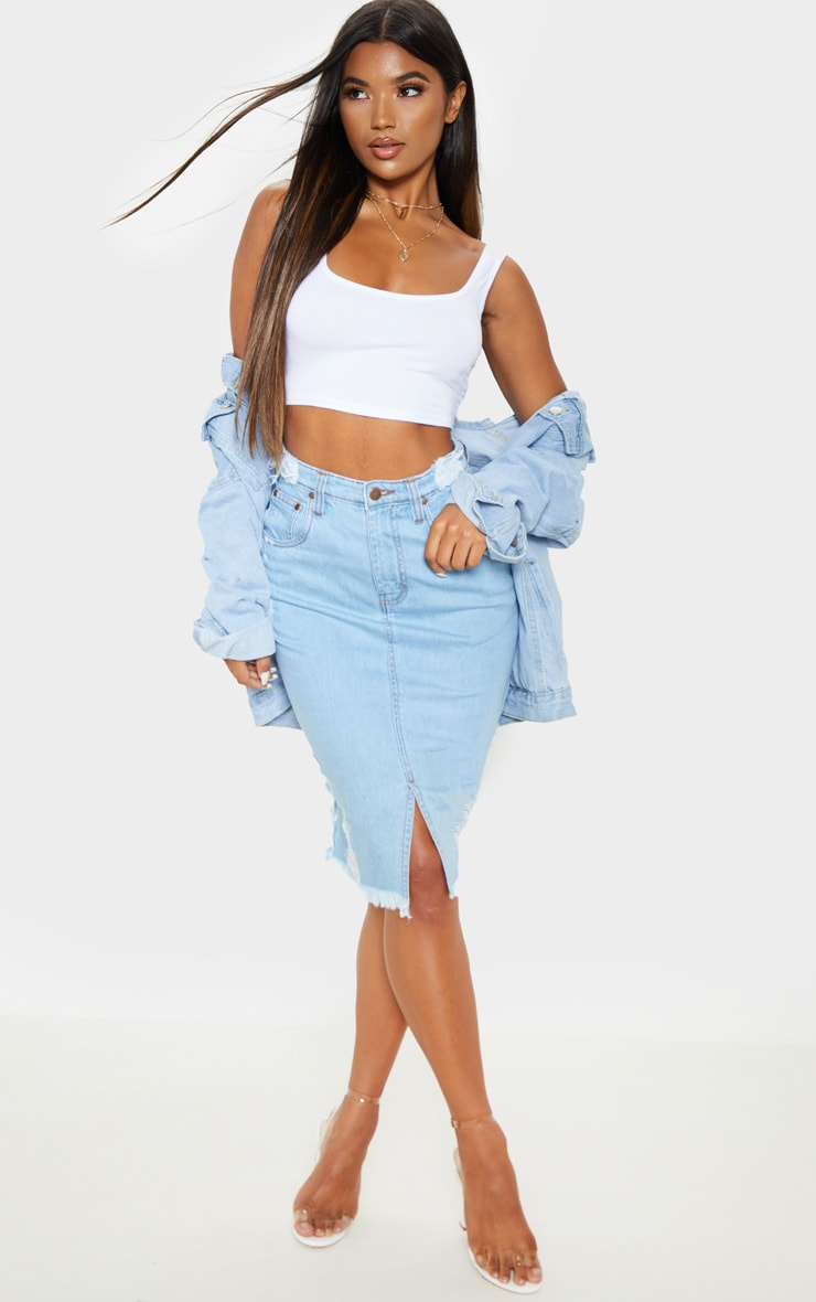 Light Wash Distressed Hem Midi Denim Skirt 1