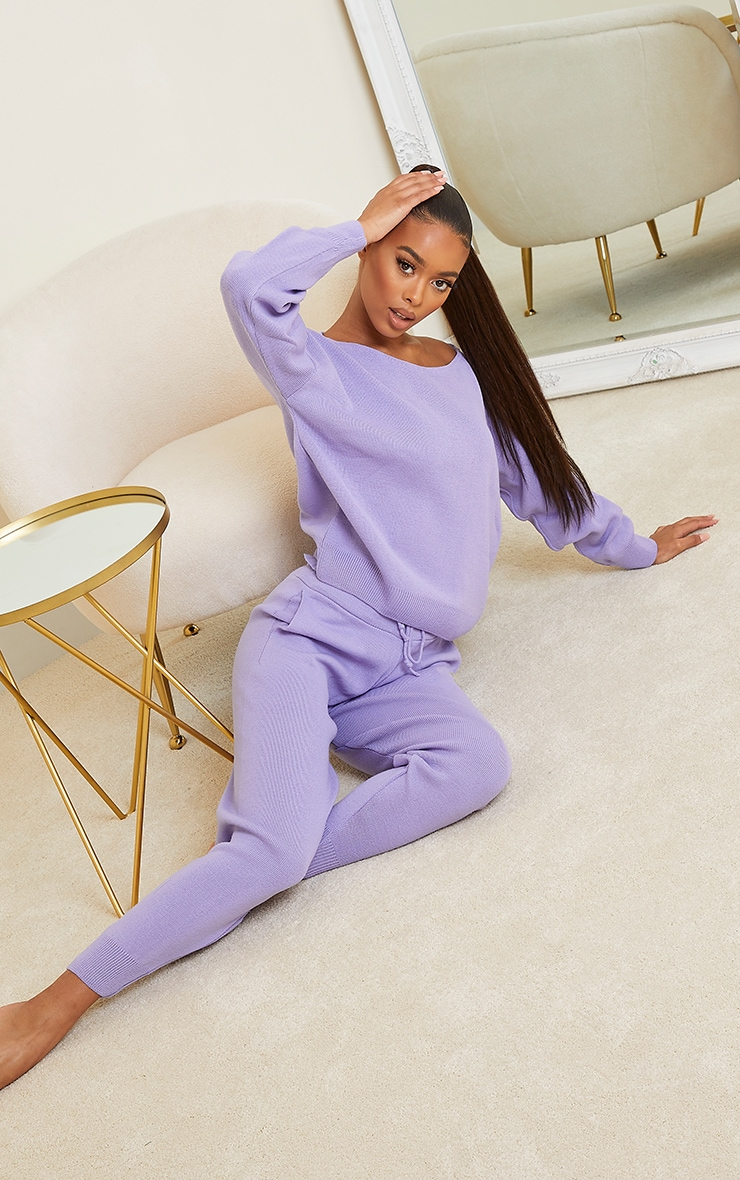 Lilac Slash Neck Knitted Set 1
