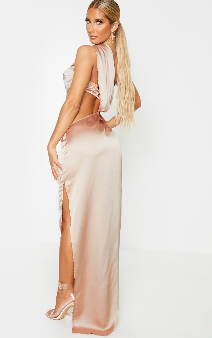Champagne One Shoulder Cut Out Satin Maxi Dress 2