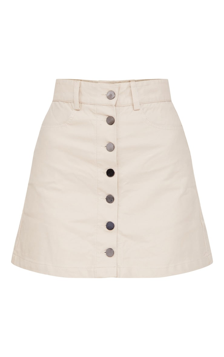 Stone Coated A-Line Button Front Skirt 3