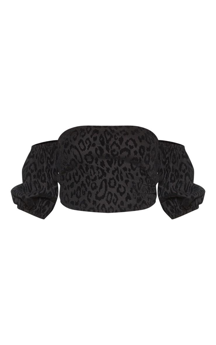 Black Velvet Leopard Bardot Top 3