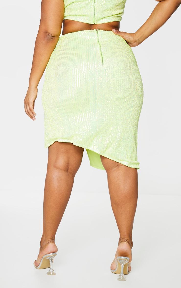 Plus Lime Sequin Wrap Midi Skirt 6