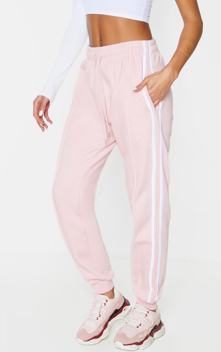 Pink Double Side Stripe Joggers 2