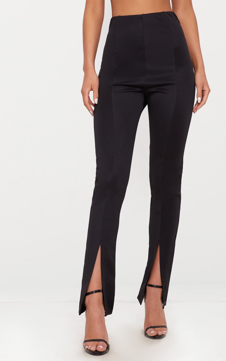 Black High Waisted Split Hem Detail Trouser 2
