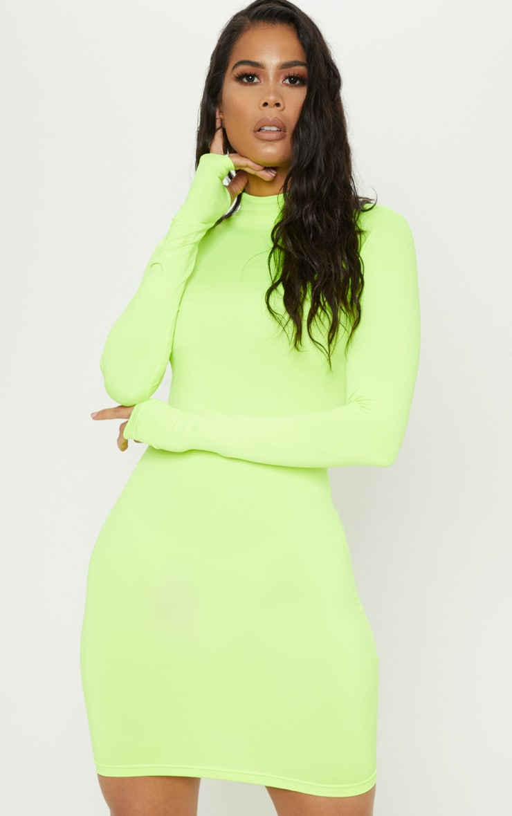 Lime Slinky Long Sleeve Zip Up Bodycon Dress 1