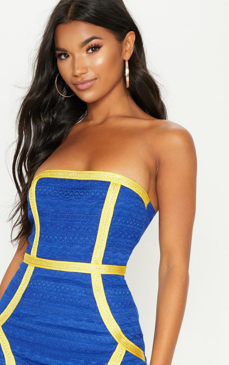 Cobalt Bandeau Lace Trim Detail Bodycon Dress 5