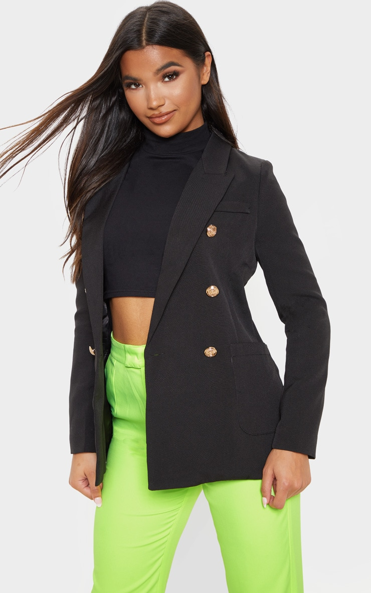 Black Double Breasted Military Style Woven Blazer 1