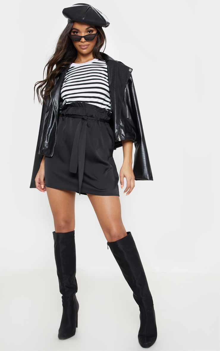 Black Woven Paper Bag Waist Mini Skirt