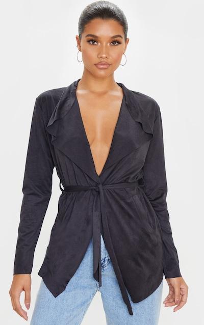 Black Faux Suede Waterfall Jacket