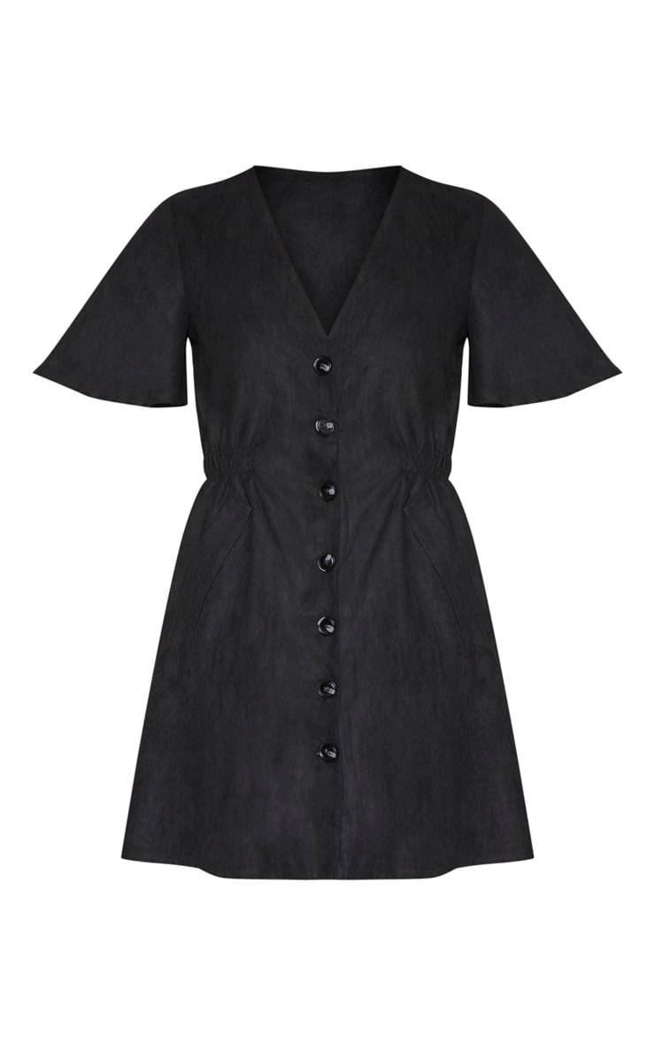 Black Faux Suede Button Front Shirred Side Shift Dress 3