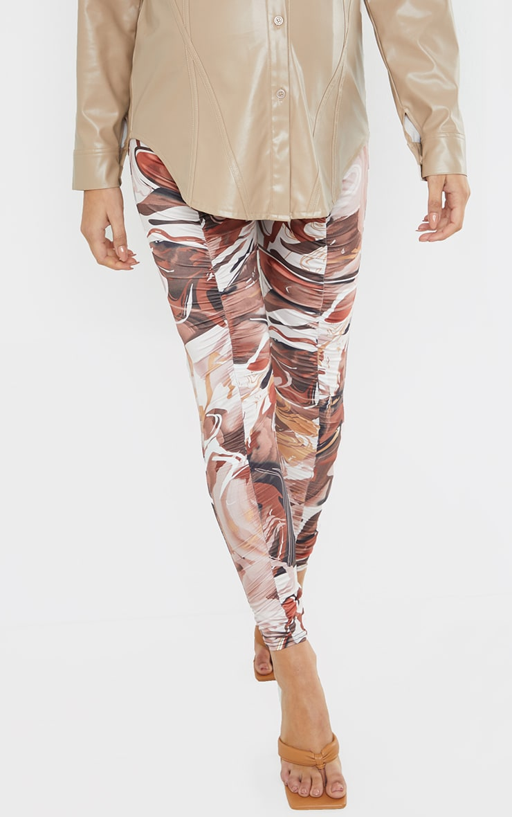 Maternity Chocolate Abstract Print Ruched Leggings 2
