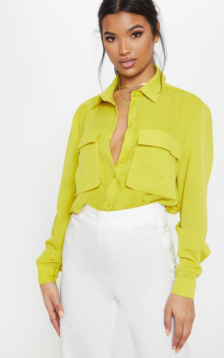 Lime Oversized Chiffon Shirt by Prettylittlething