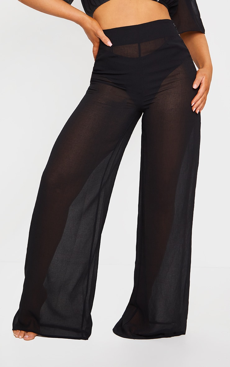 Black Linen Look Wide Leg Beach Pants 2