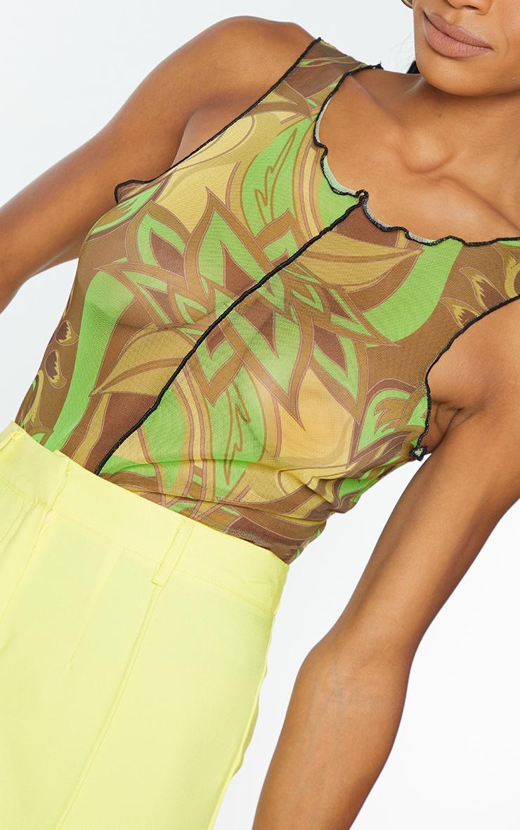 Lime Floral Print Mesh Seam Detail Racer Bodysuit 4