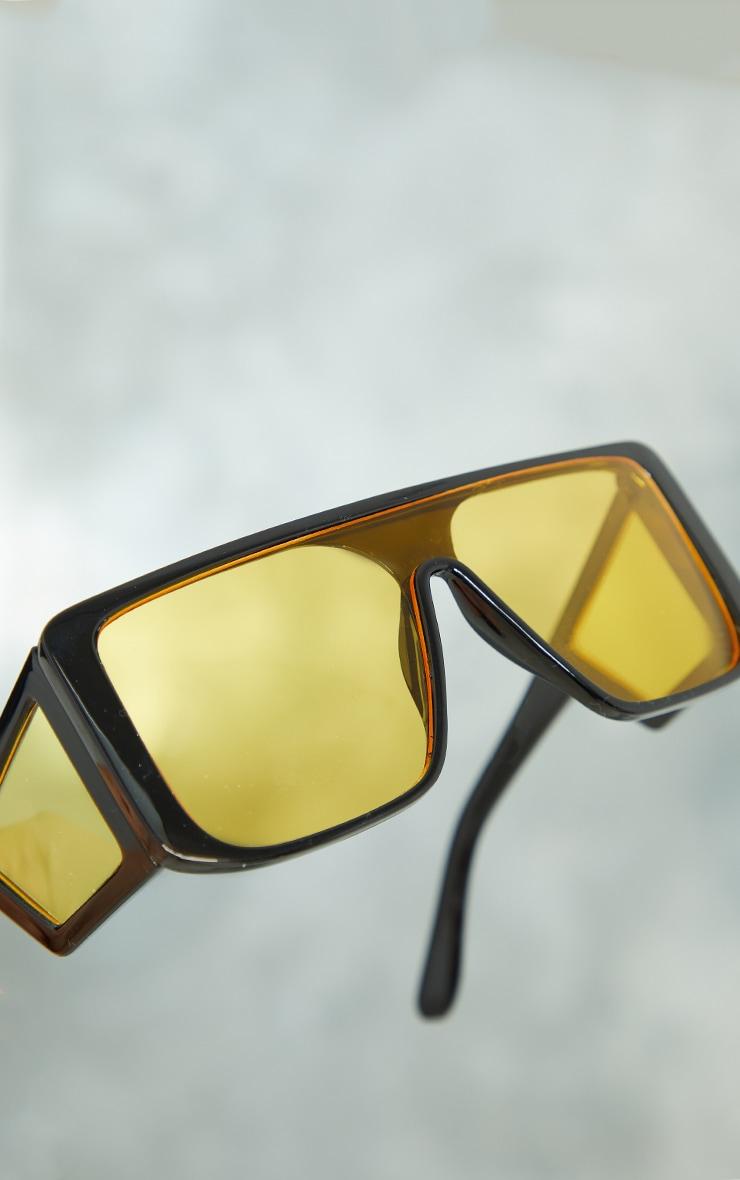 Black Oversized Triple Yellow Lens Square Frame Sunglasses 3