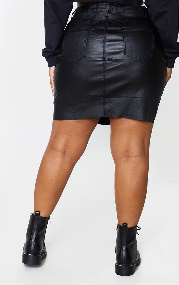 Plus Black Coated Denim Extreme Mini Skirt 3
