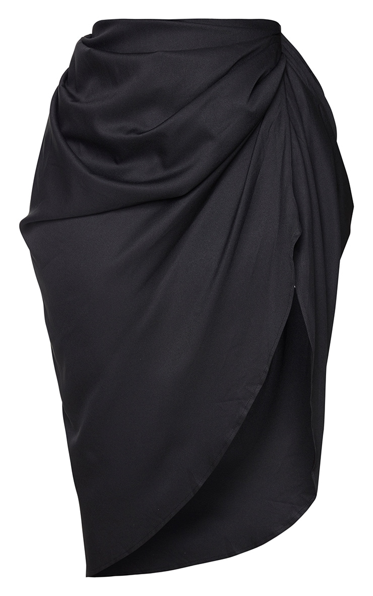 Plus Black Ruched Side Midi Skirt 5
