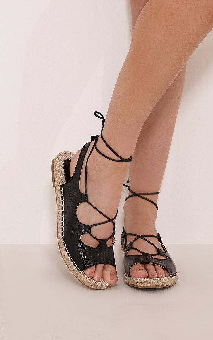 Coco Black Metallic Espadrille Sandals 1