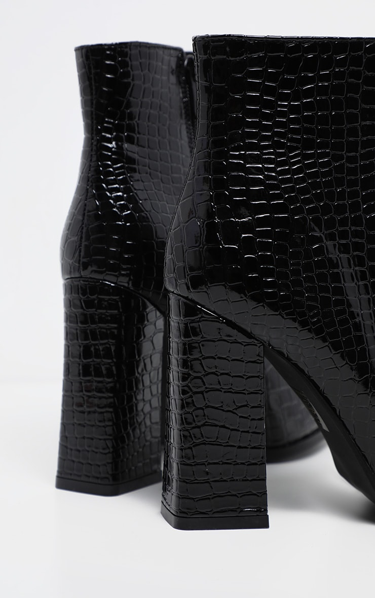 Black Croc Point Ankle Boot 4