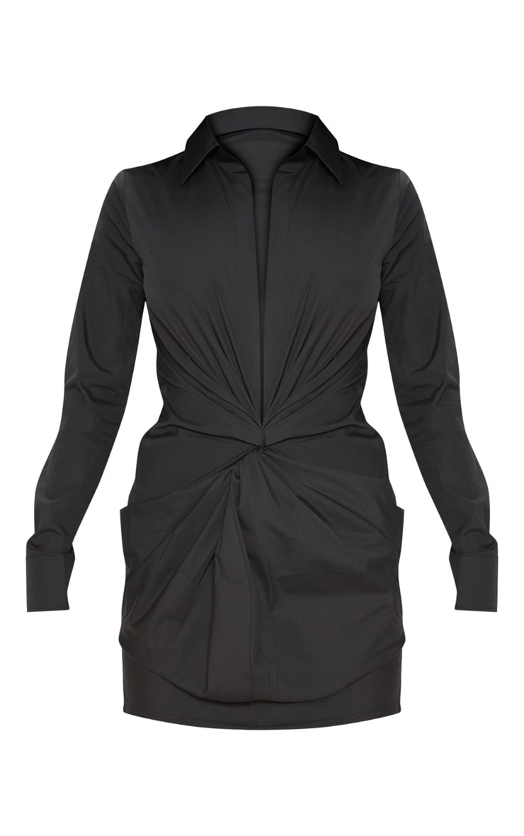 Black Plunge Knot Detail Shirt Dress 3