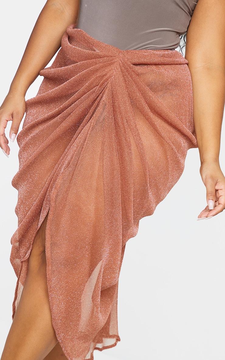 Plus Brown Sheer Glitter Ruched Midi Skirt 4