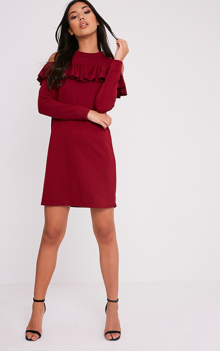 Bridy Wine Cold Shoulder Sweater Dress 5