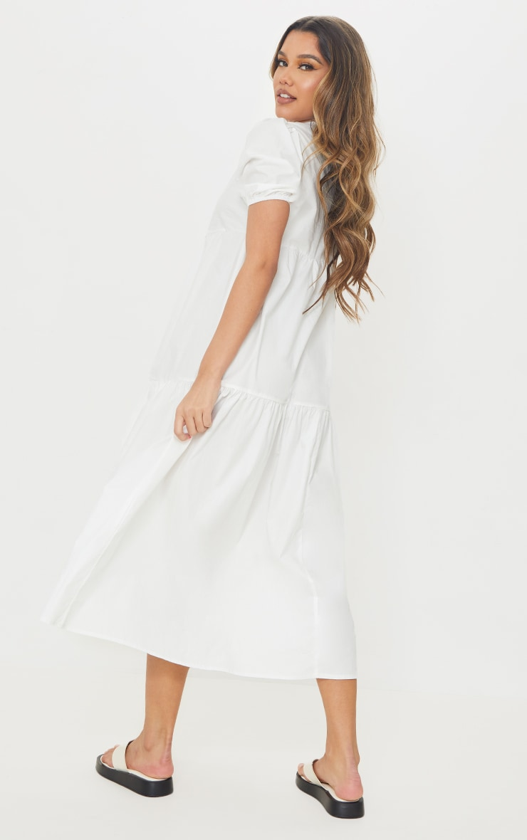 White Cotton Tiered Drop Hem Short Sleeve Midi Smock Dress 2