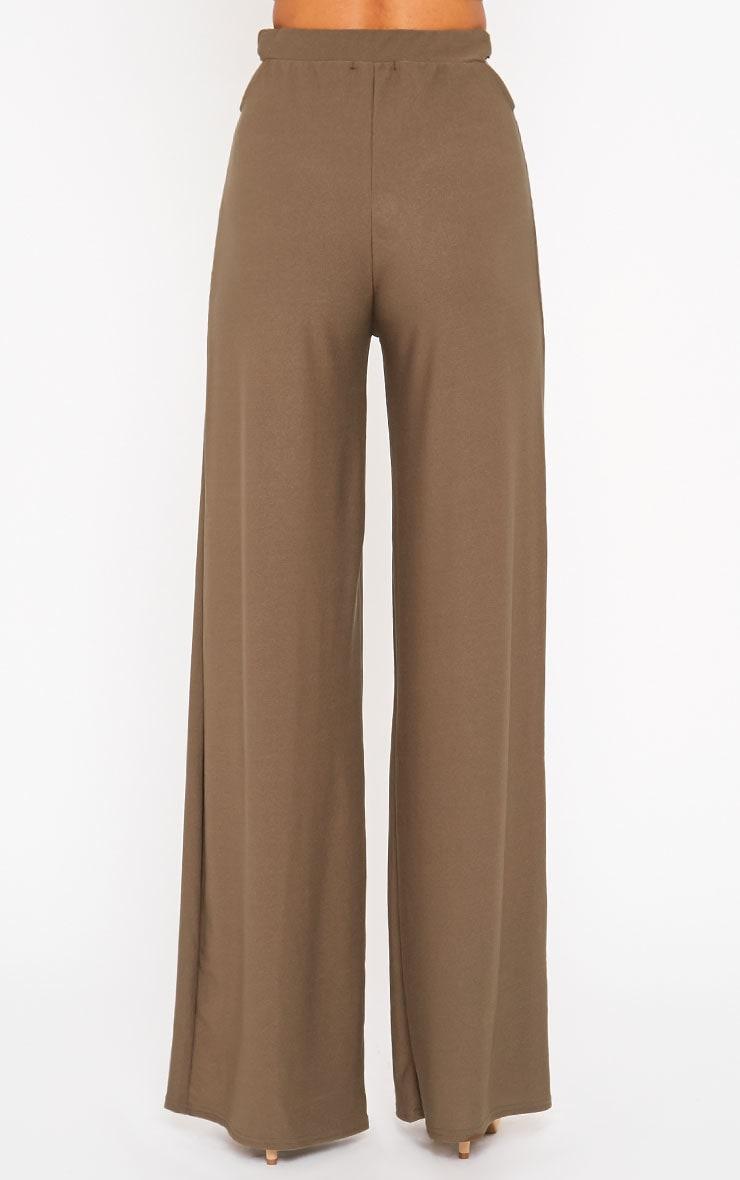 Elphina Khaki Cut Out Palazzo Trousers 4