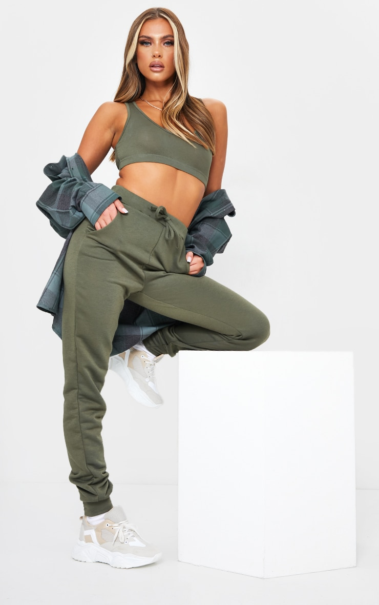 Khaki Sleeveless Elastic Hem Crop Top 3
