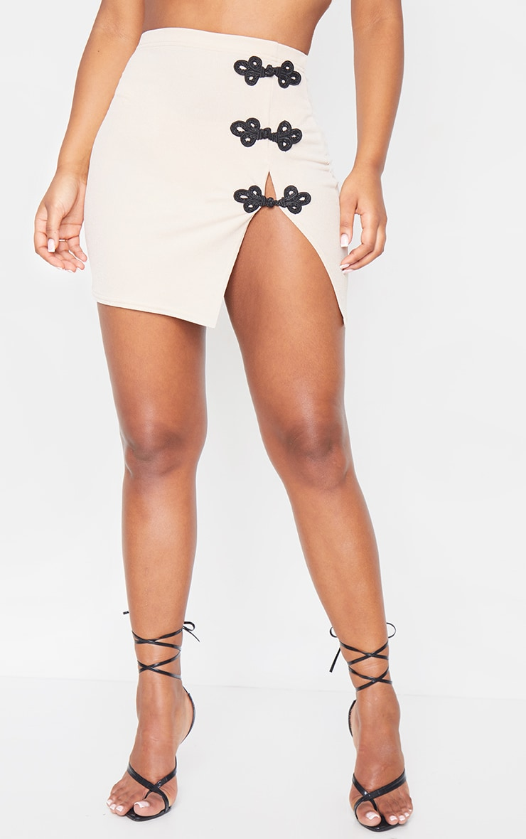 Mini-jupe trapèze gris pierre 2