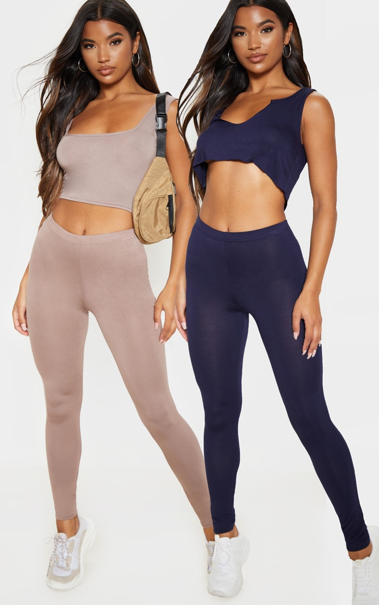 Basic Navy and Taupe Jersey Leggings 2 Pack 1