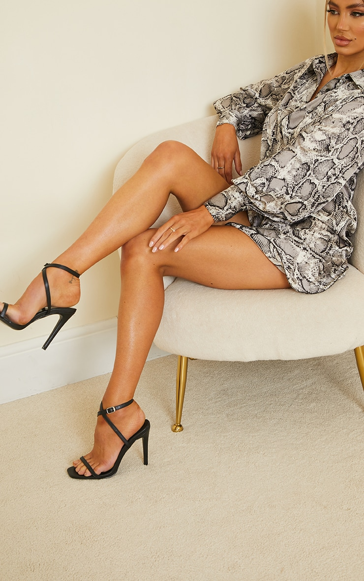 Black PU Square Toe Barely There Strappy High Heels 2