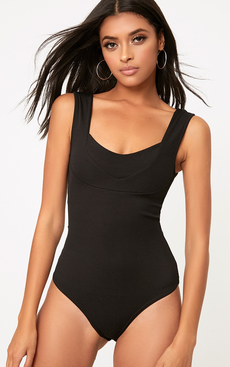 Black Structured Detail Thong Bodysuit 1