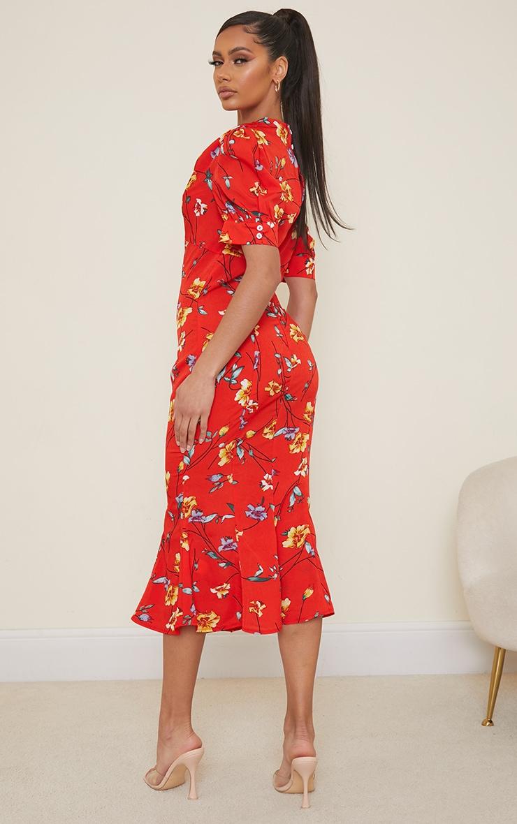Red Floral Print Puff Sleeve Draped Neck Midi Dress 2