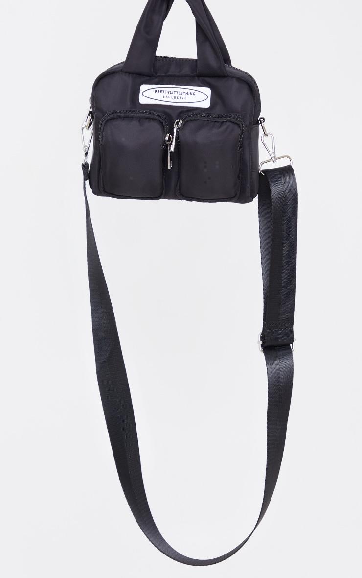PRETTYLITTLETHING Nylon Black Double Front Pocket Cross Body Bag 2