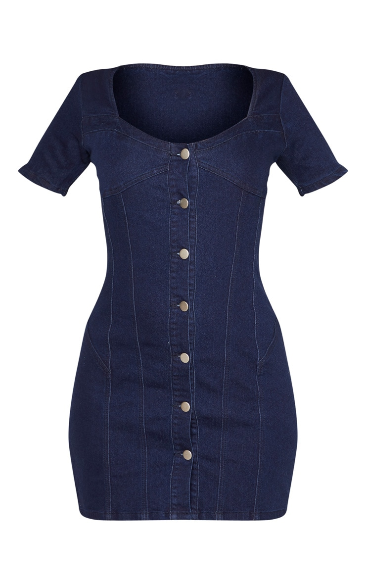Mid Wash Button Through Cap Sleeve Denim Dress  3