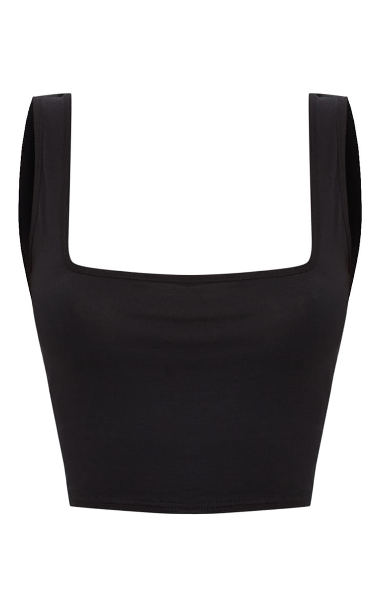 Basic Black Jersey Square Neck Crop Vest  3