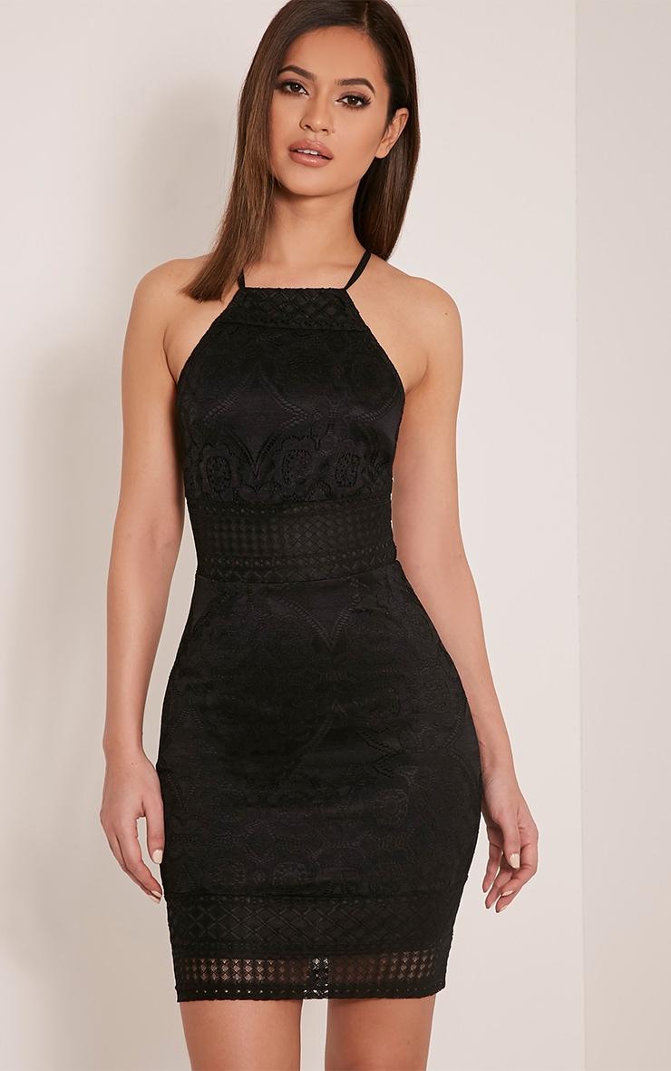 Georgia Black Lace Cross Back Bodycon Dress 4