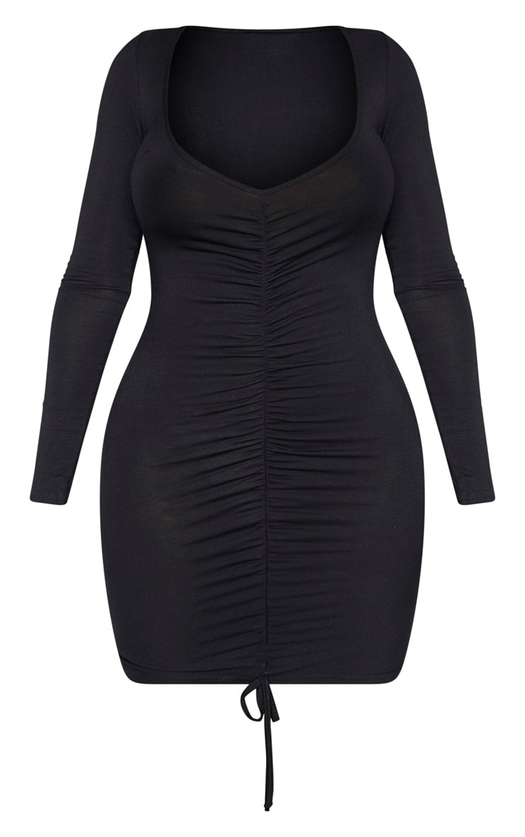 Shape Black Jersey Ruched Front Long Sleeve Dress 3