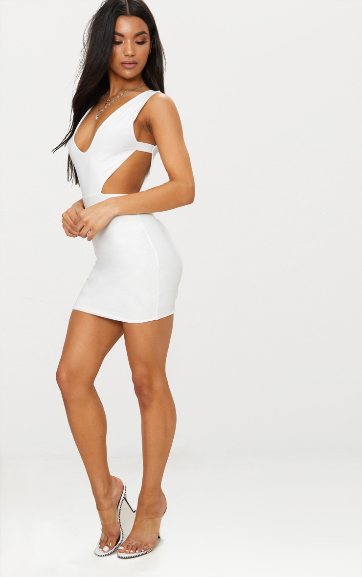 White Double Layer Slinky Cut Out Side Bodycon Dress 4