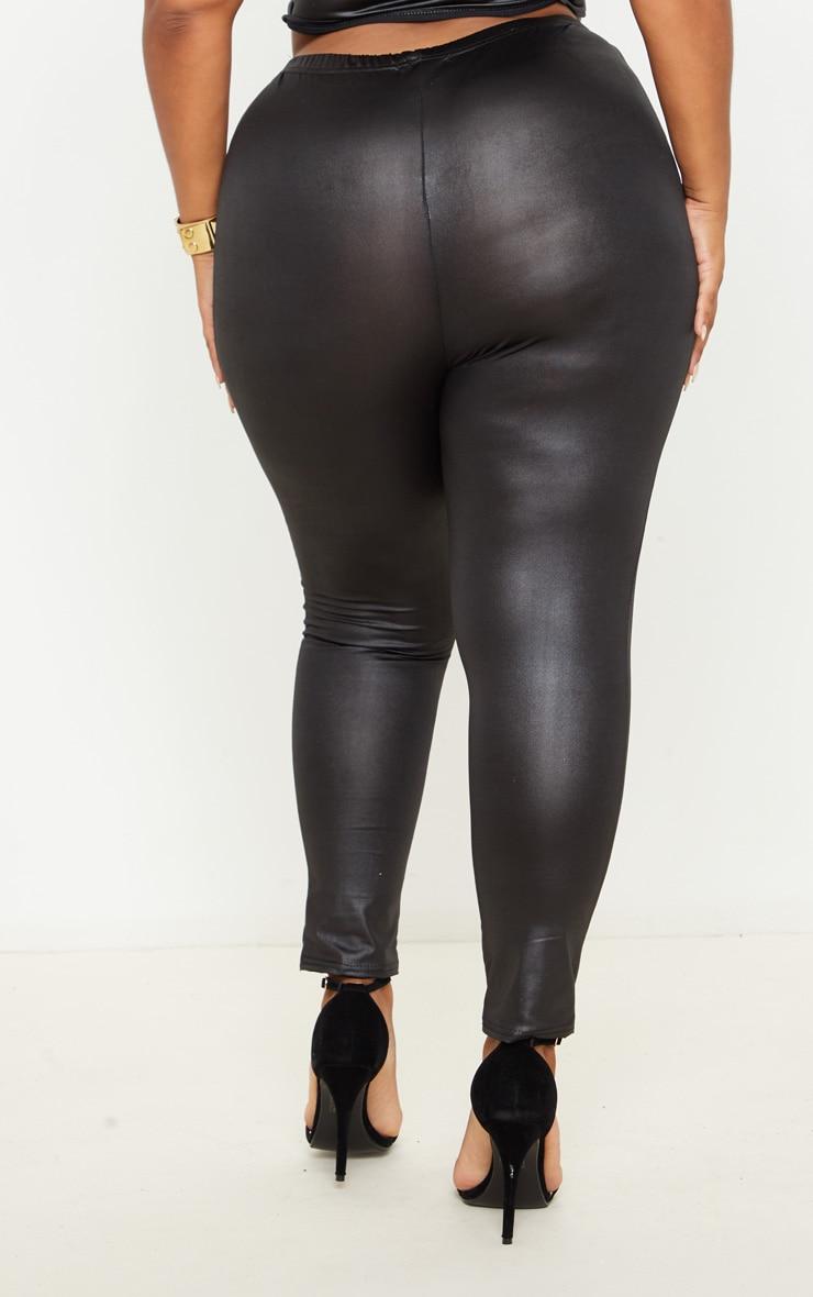 Plus Black Wet Look Legging 4