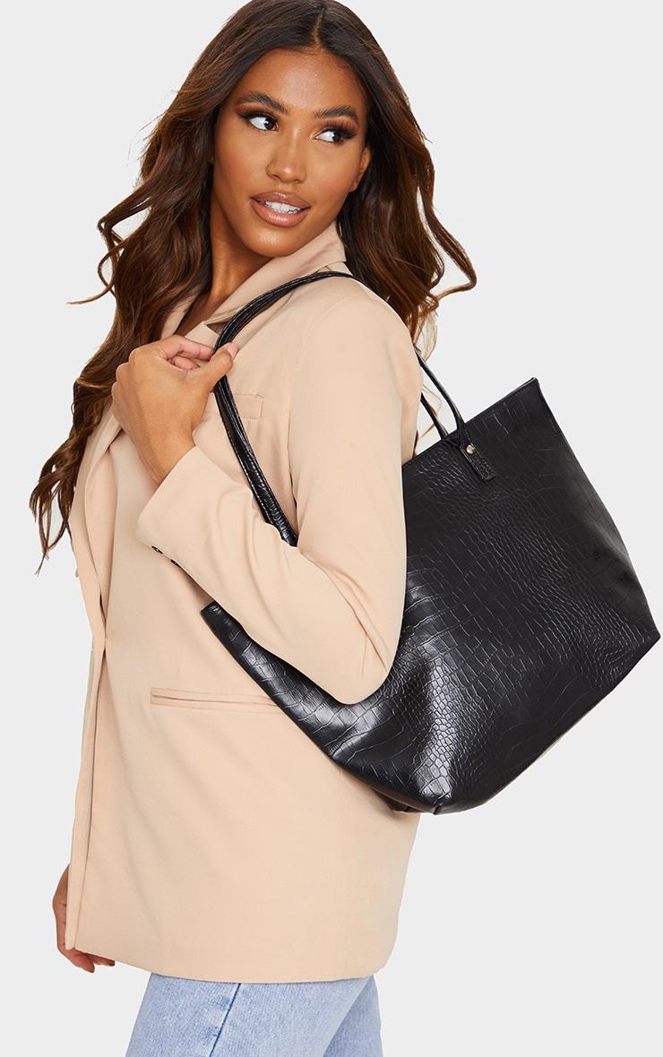 Black Matte Croc Tote Bag 1