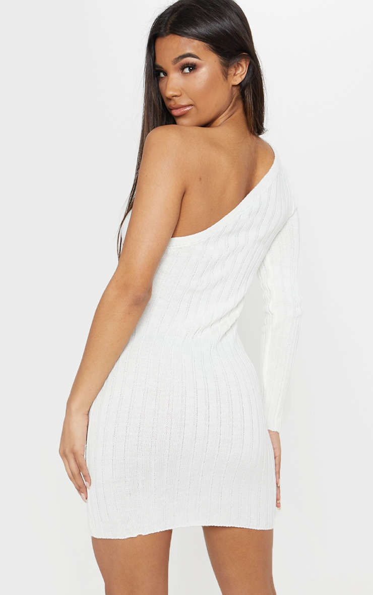 Cream Asymmetric Knitted Rib Dress 2