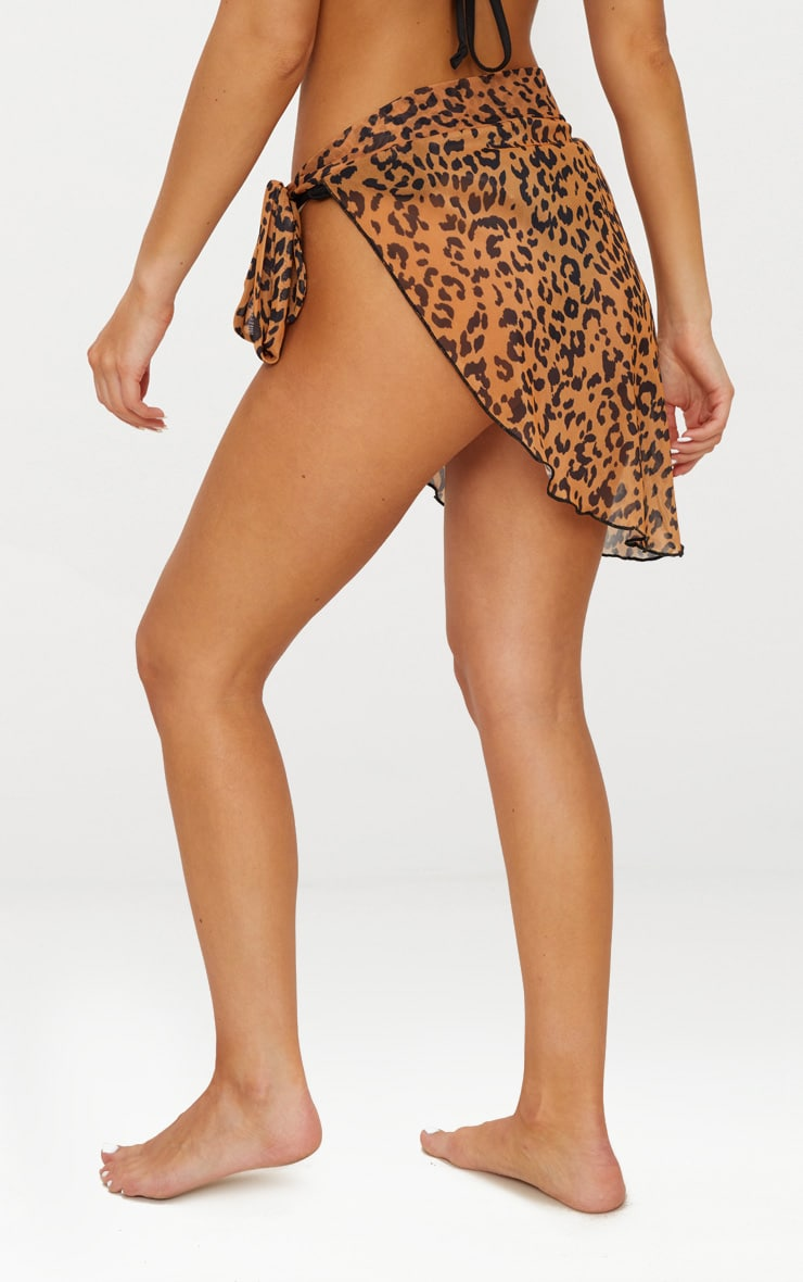Orange Cheetah Chiffon Sarong 4