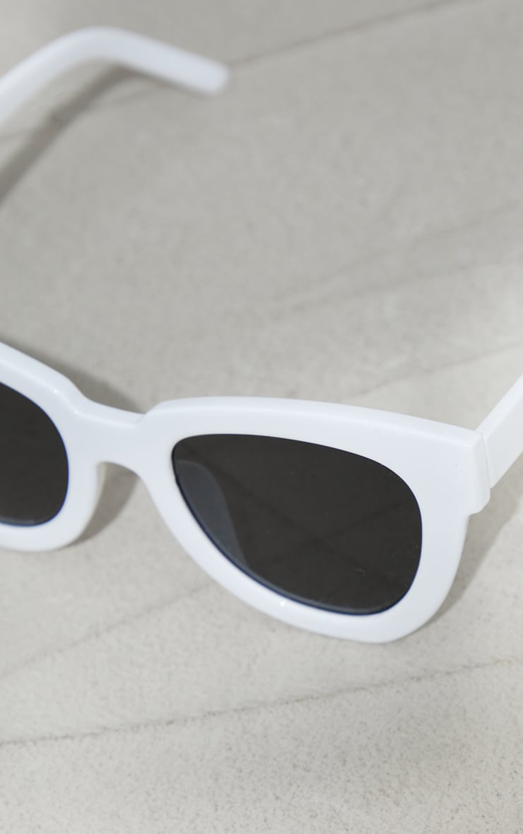 White Recycled Plastic Winged Sunglasses 3