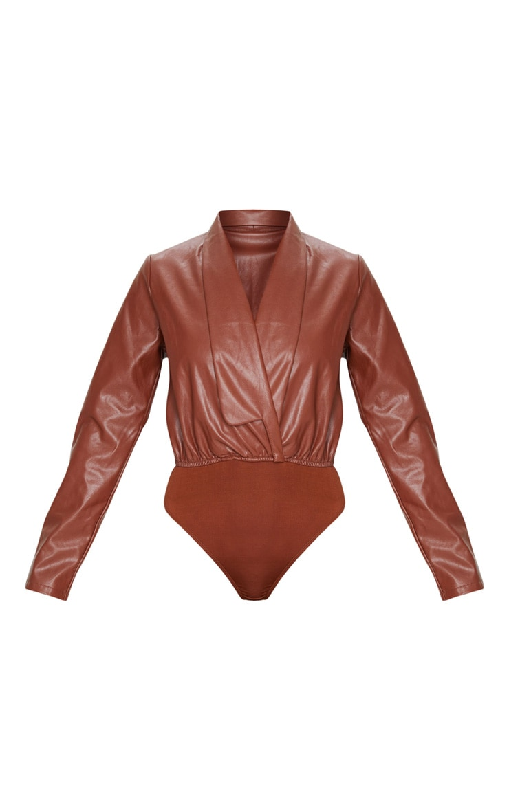 Chocolate Faux Leather Shirt Bodysuit 5